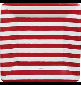 Caspari Paper Salad-Dessert Plates 8pk 7921SP Red White Stripe