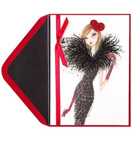 PAPYRUS® Valentine's Day Cards Bella Pilar Fashion Girl With Red Heart Hat