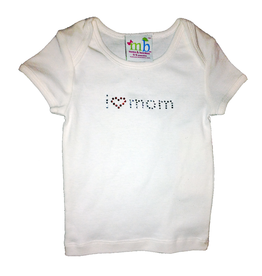 Mama and Bambino Infant Baby Tee White T-Shirt with Bling I love Mom