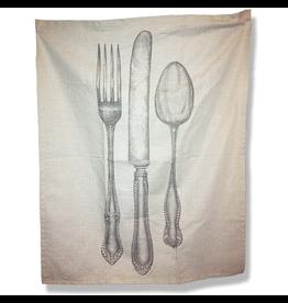 Kitchen Papers Cake Vintage Kitchen Towel Knife Fork Spoon 24x30