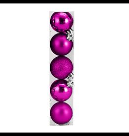 Kurt Adler Christmas Shatterproof Ball Ornament 60MM Set of 5 Pink
