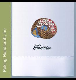 Peking Handicraft Hand Towel w Embroidered Shell Towel Trochidea
