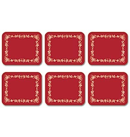 Jason Christmas Hardboard Placemats Red W White Holly Berry Set of 4