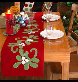 Peking Handicraft Christmas Table Runner Felt Mistletoe Runner 72L by Kate Spain