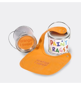Paint Rags Embroidered Baby Bib - Orange I Sweet
