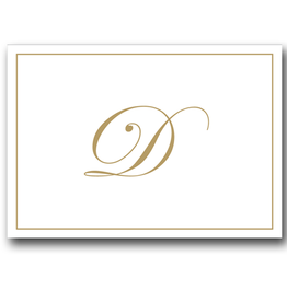 Caspari Gold Embossed Initial Note Cards Letter D Boxed Set of 8