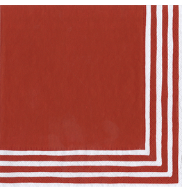 Caspari Paper Cocktail Napkins 9007C Stripe Border Red 20pk