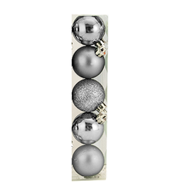 Kurt Adler Christmas Shatterproof Ball Ornament 60MM Set of 5 Silver