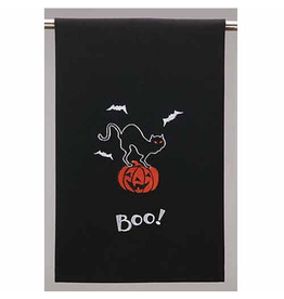 Peking Handicraft Halloween Hand Towels Boo w Bats n Cat on Pumpkin Towel