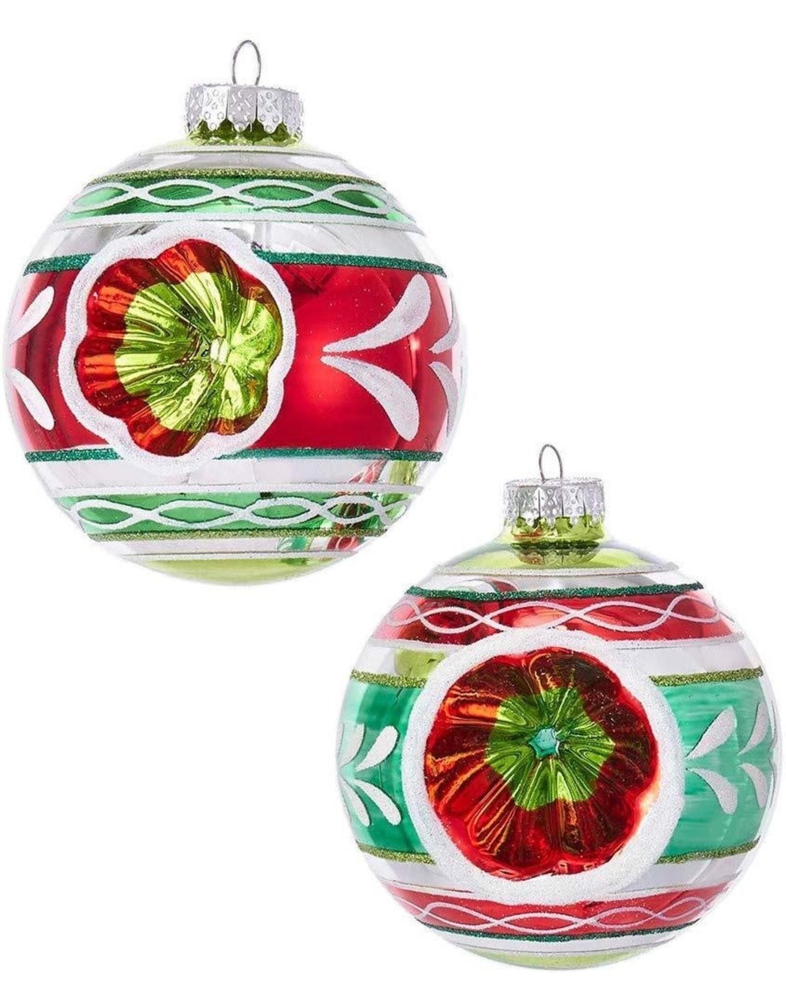 Kurt Adler Red Green White Reflector Glass Ball Ornaments 100mm Set 4 Digs N Gifts