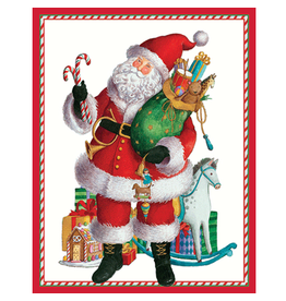 Caspari Christmas Gift Enclosure Cards 4pk Coming to Town Santa