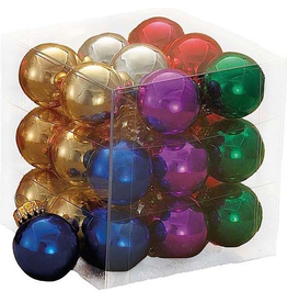 Kurt Adler Mini Glass Balls Christmas Ornaments 25MM Set 27 Multi Color