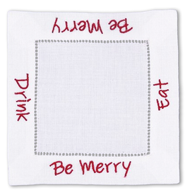 Peking Handicraft Christmas Linen Cocktail Napkins Eat Drink Be Merry