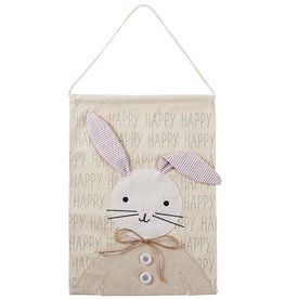 Mud Pie Happy Bunny Canvas Door Hanger 16.5x12 Inch
