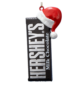 Kurt Adler Hersheys Milk Chocolate Bar w Santa Hat Christmas Ornament