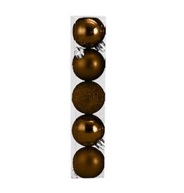 Kurt Adler Christmas Shatterproof Ball Ornament 60MM Set of 5 Brown