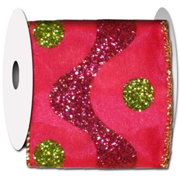 Pink w Green Dots Motion Ribbon - Glittered 10 Yards