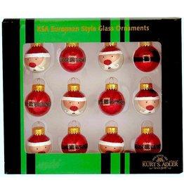 Kurt Adler Mini Glass Santa And Buckle Ball Ornaments 25mm 12pc