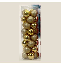 Kurt Adler Gold Shatterproof Ball Ornaments Shiny and Glittered Set of 32