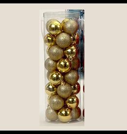 Kurt Adler Gold Shatterproof Ball Ornaments Shiny and Glittered Set of 32