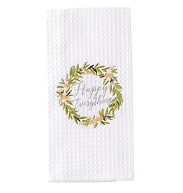 Mud Pie Waffle Weave Hand - Dish Towel With Happy Everything