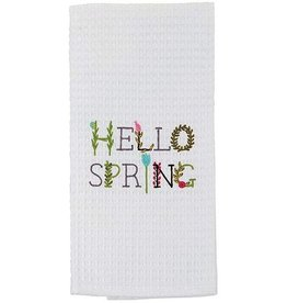 Mud Pie Easter Waffle Weave Hand Dish Towel Hello Spring