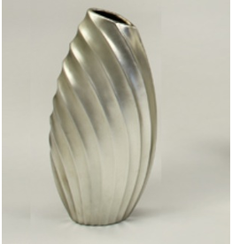 Artmax Contemporary Silver Fluted Vase 17H inches