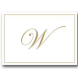 Caspari Gold Embossed Initial Note Cards Letter W Boxed Set of 8