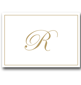 Caspari Gold Embossed Initial Note Cards Letter R Boxed Set of 8