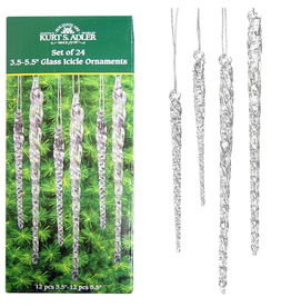 Kurt Adler Twisted Clear Glass Icicles Ornaments Set of 24 3.5-5.5 Inch
