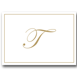 Caspari Gold Embossed Initial Note Cards Letter T Boxed Set of 8