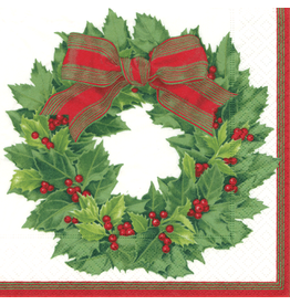 Caspari Paper Cocktail Napkins 12070C Holly Wreath Ivory 20pk