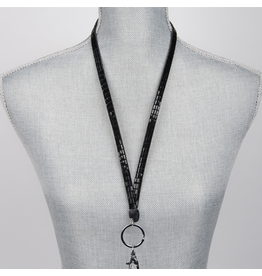 Jacqueline Kent Jewelry Crystal Bling Lanyard Black