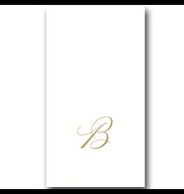 Caspari White Pearl Paper Linen Guest Napkins Initial B 24pk
