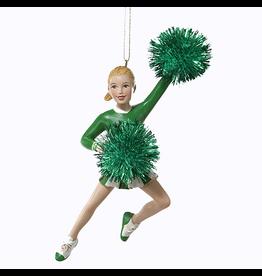 Kurt Adler Cheerleader w Pom Poms Christmas Ornament - Green