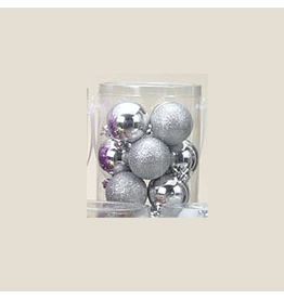 Kurt Adler Silver Shatterproof Ball Ornaments Shiny and Glittered Set of 32