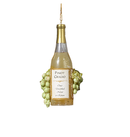 Kurt Adler Wine Bottle With Grapes Ornament Pinot Gricio