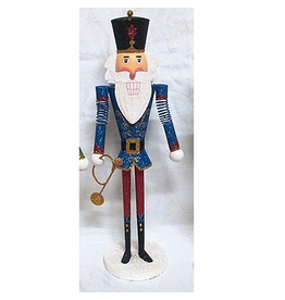 Kurt Adler Tin Nutcracker Band Player Tabletop Piece 15 Inch Blue