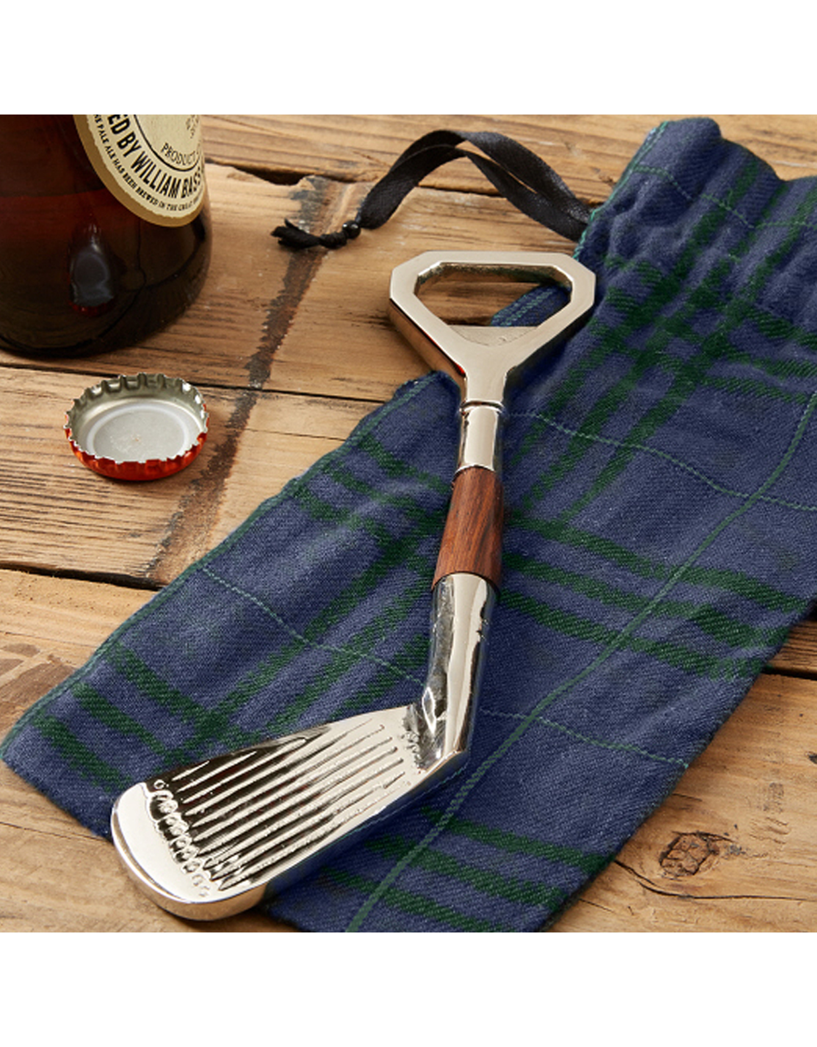 Twos Company Golf Club Bottle Opener in Plaid Gift Pouch