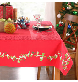 Peking Handicraft Christmas Tablecloth 60x84 Red  Mistletoe Kate Spain