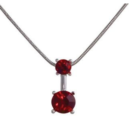 Annaleece Necklace Sweet Ruby Rhodium Pendant with Ruby Crystals