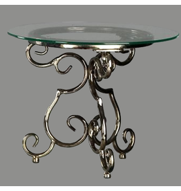 Tripar International Small Round Glass Top Display Table w Scroll Base