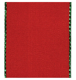 Caspari Ribbon R785 Red Ribbon w Green Edge 8yds