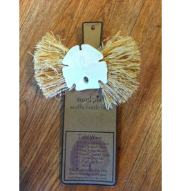 Mud Pie Wine Bottle Tag 10630-A Sand Dollar w Braided Raffia Bottle Tag