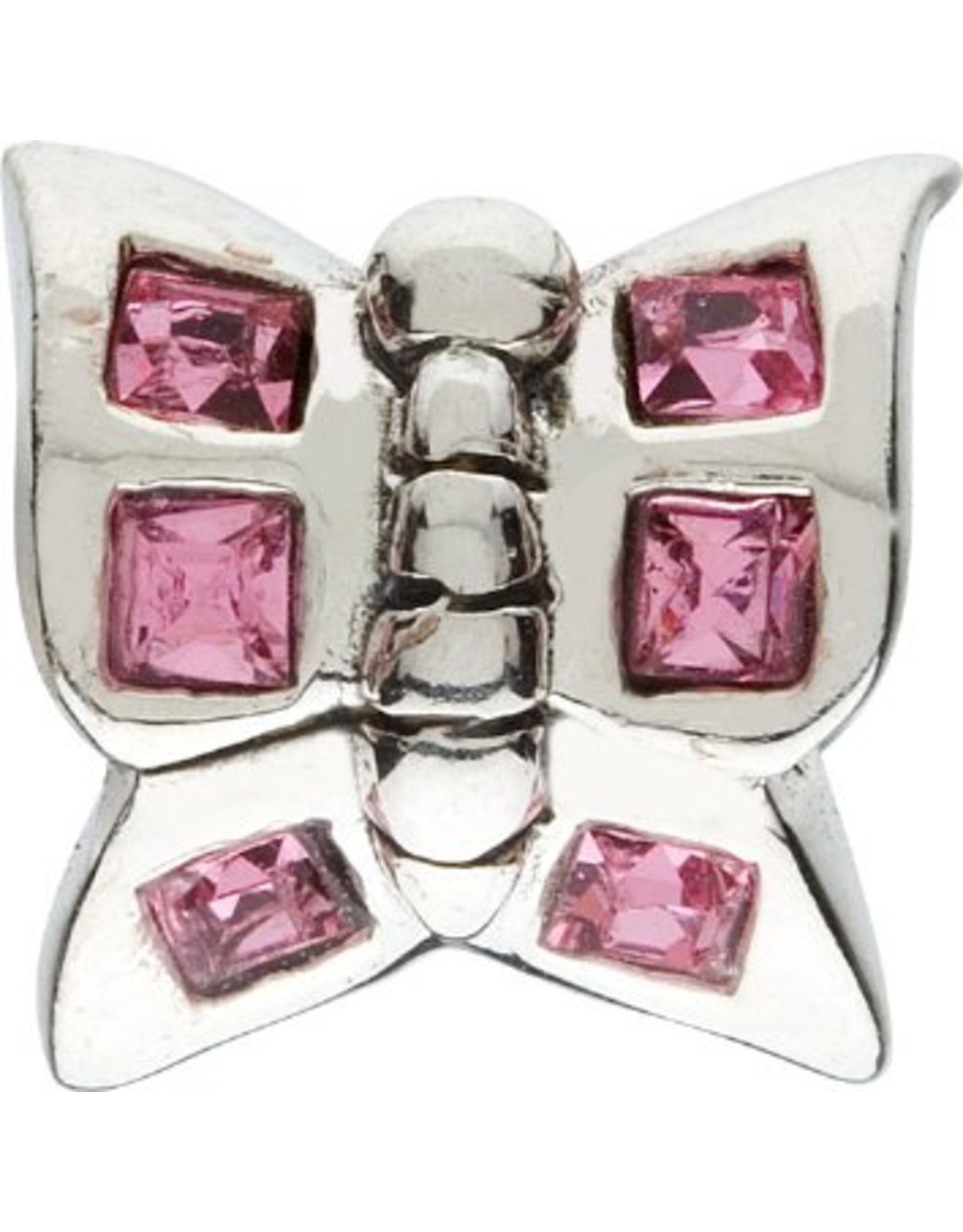 Chamilia Butterfly Charm Silver Bead w Pink CZ JB-2A
