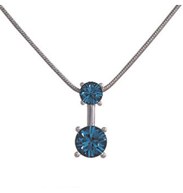 Annaleece Necklace Sweet Midnight Blue Rhodium Pendant with Crystals