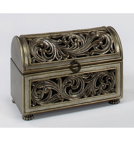 Artmax Hinged Chest With 2 Interior Trays Table Top Decorative Box