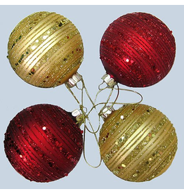 Kurt Adler Glass Glitter Ball Ornaments Set of 4 80mm Red Gold