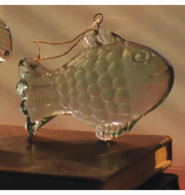 Hanging Glass Fish Ornament 5.5x4 inch