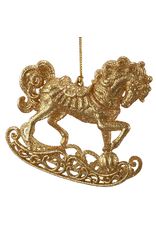 Kurt Adler Acrylic Gold Glittered Rocking Horse Ornament -A